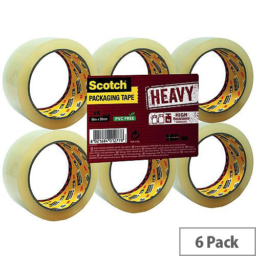 3M Scotch Heavy Packaging Tape High Resistance Hotmelt 50mmx66m Clear Pack of 6