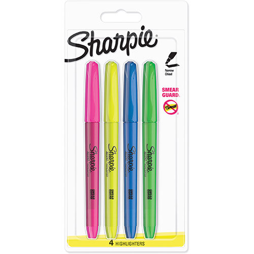 Sharpie Accent Highlighter Pens Chisel Tip Assorted Fluorescent Ref S0907200 Pack of 4