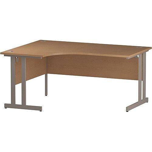 L-Shaped Corner Left Hand Double Cantilever Silver Leg Office Desk Oak W1600mm