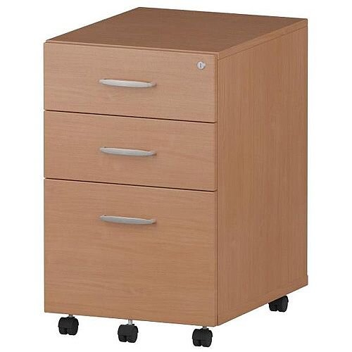 Tall 3 Drawer Under Desk Mobile Pedestal Beech