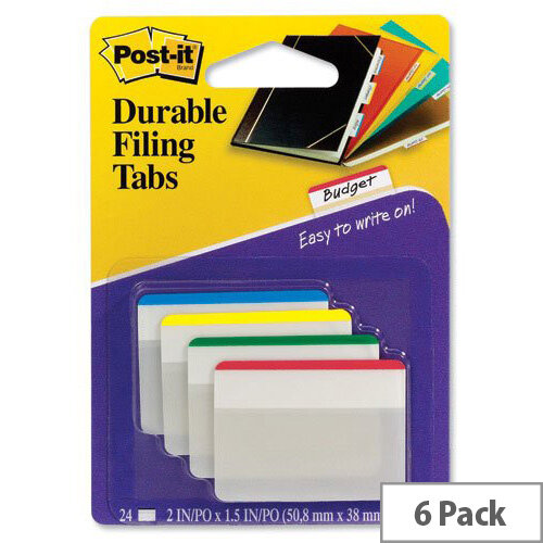 Post-it Index Filing Tabs Strong 51x38mm Six Each of 4 Colours Assorted Pack 6