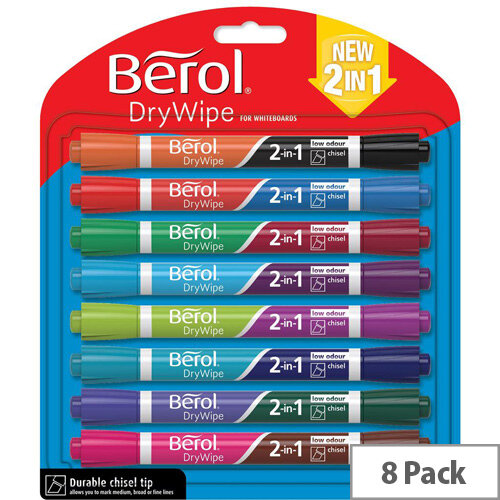 Berol Dual Ended 2 in 1 Drywipe Whiteboard Marker Assorted Colours Pack of 8 Marker Pens