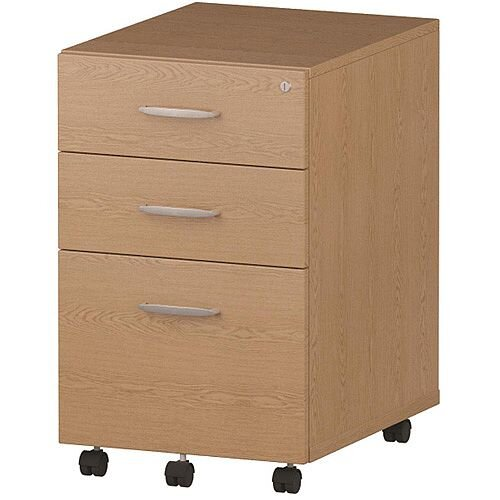 Tall 3 Drawer Under Desk Mobile Pedestal Oak