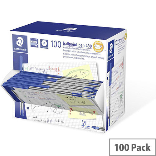Staedtler Stick 430 Medium Ballpoint Pen Blue Pack of 100