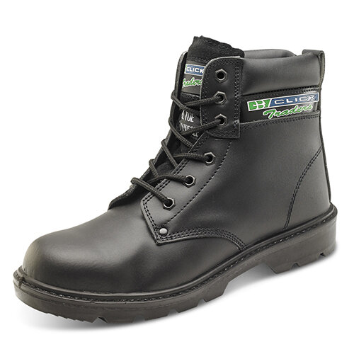 Click Traders S3 6in Safety Boots PU/Leather Size 10 Black - Shock Absorber Heel, Anti-static &Oil Resistant Sole, Slip Resistant, Water Resistant Upper Leather Ref CTF20BL10
