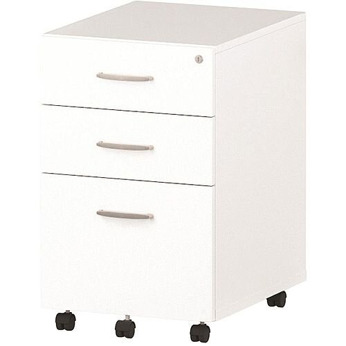 Tall 3 Drawer Under Desk Mobile Pedestal White