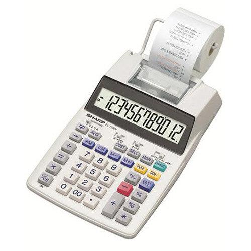 Sharp EL-1750V Printing Calculator 12-Digit Display Black/Red Print Grey