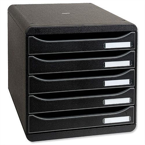 Black Filing Drawer Set Plastic A4+ 5 Drawers Each Multiform