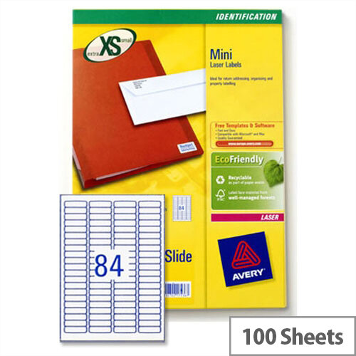 Avery Mini Labels Laser 84 per Sheet 46x11.1mm White L7656-100 8400 Labels