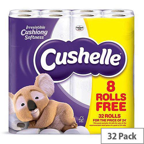 Cushelle White Toilet Paper Tissue Rolls 2 Ply 180 Sheets Per Roll Pack of 32 Rolls