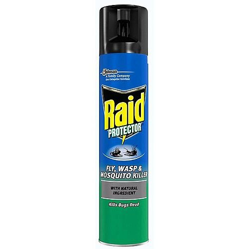 Johnson Diversey RAID Protector Fly and Wasp Killer Aerosol Spray 300ml