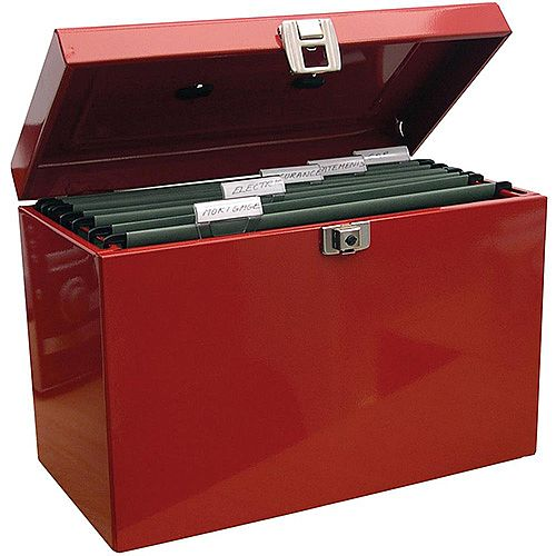 File Box with 5 Suspension Files and 2 Keys Steel A4 Red