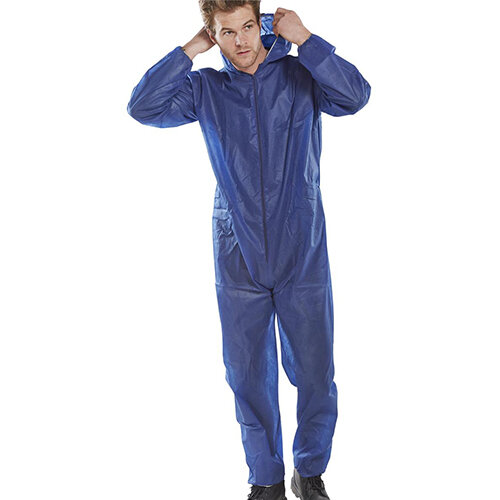 Click Once Poly Disposable Boilersuit Work Overall Size XL  Blue Pack of 50 Ref PDBSHNXL