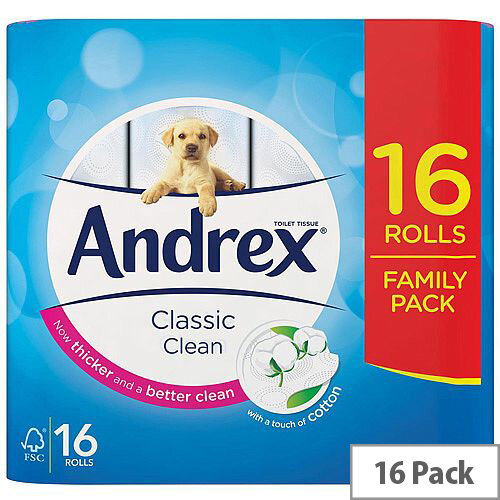 Andrex Classic Clean Toilet Paper Tissue Rolls 2-Ply White 1 x Pack of 16 Rolls
