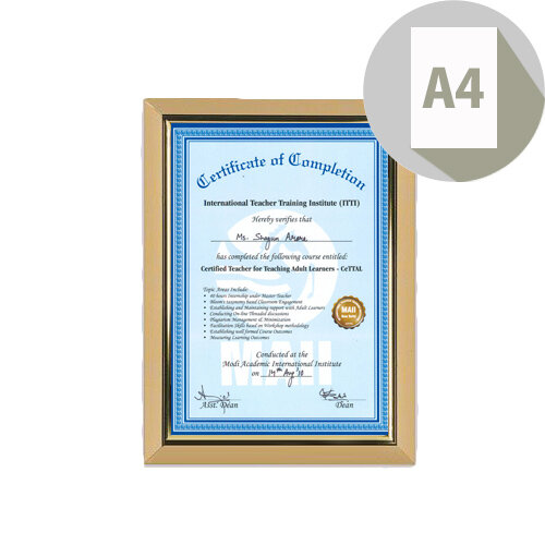 Deluxe Certificate Frame Non-Glass Holds A4 Gold Photo Album Company