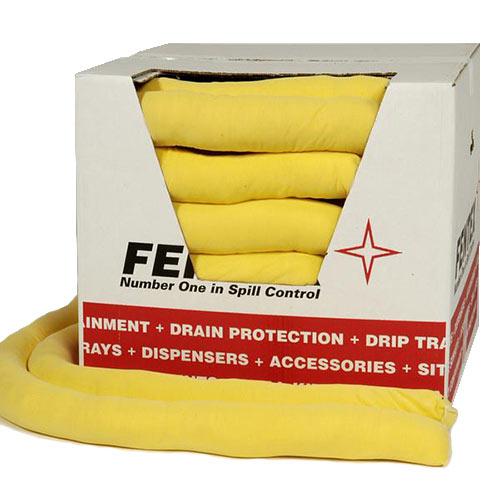 Fentex 8cm x 1.2M Chemical Socks 80 litre Yellow 20 Pack Ref CST20