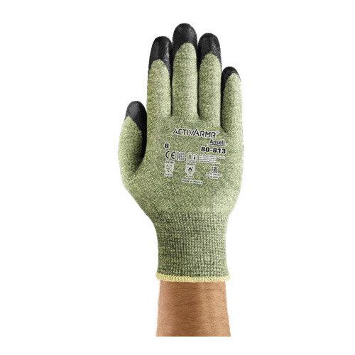 Ansell ActivArmr 13 Gauge, Size 7 Heat/Cut Resistant Medium-Duty Work Gloves Black/Green