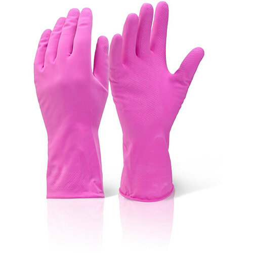 Click2000 Household Medium Weight Rubber Gloves Pink Size XL Pack of 10 Pairs Ref HHMWPXL