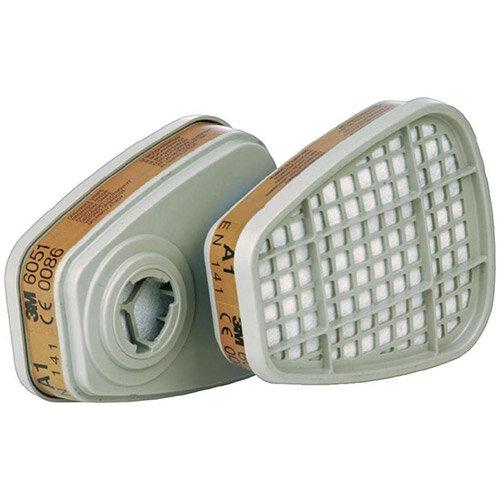 3M 6051 A1 Organic Vapour Cartridge Filter 1 Pair Grey