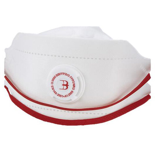 B-Brand P2 Premium Fold-flat Vented Mask Adjustable White Pack of 20 Ref BBFFP2VD