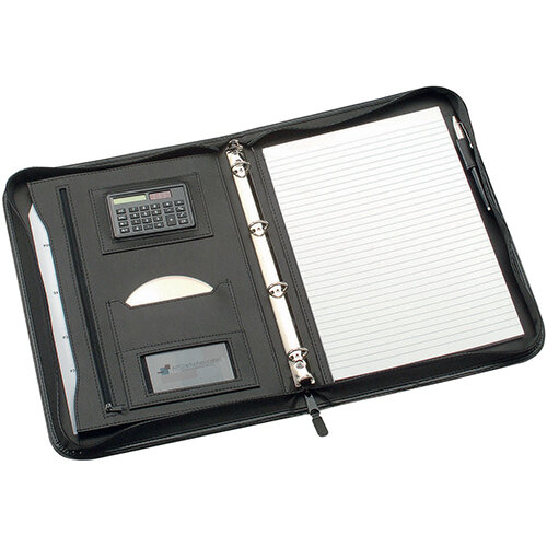 5 Star Office Zipped Conference A4 Folio - 4 Ring Binder with Soft touch, solar powered calculator - Smooth Black Leather Look