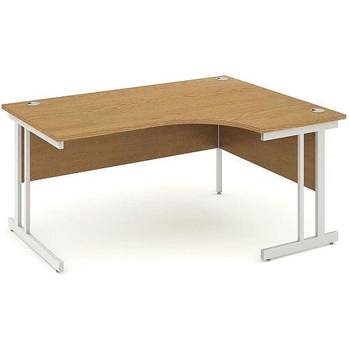 L-Shaped Corner Right Hand Double Cantilever Silver Leg Office Desk Oak W1600mm