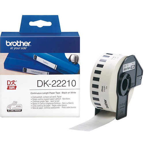 Brother DK Labels DK22210-1 29mm x 30.48m Continuous White Paper Tape