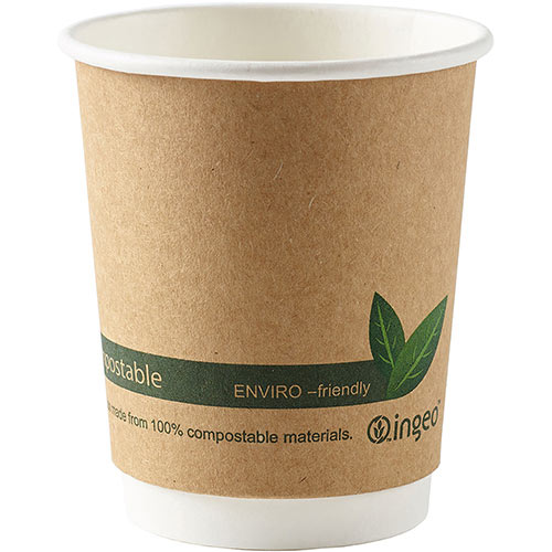 Dispo Kraft Disposable Paper Cups 8oz Double Wall Compostable Bio-gradable PLA Eco-Friendly Cups Ref 44881 Pack of 25