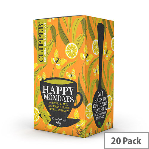 Clipper Organic Individually Enveloped Tea Bags Happy Monday Ref 0403348 Pack of 20