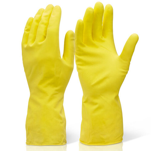 Click2000 Household Medium Weight Rubber Gloves Yellow Size S Pack of 10 Pairs Ref HHMWS