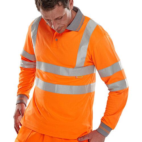 B-Seen Long Sleeved Hi-Vis Polo Shirt EN ISO20471 Size L Orange Ref BPKSLSENORL