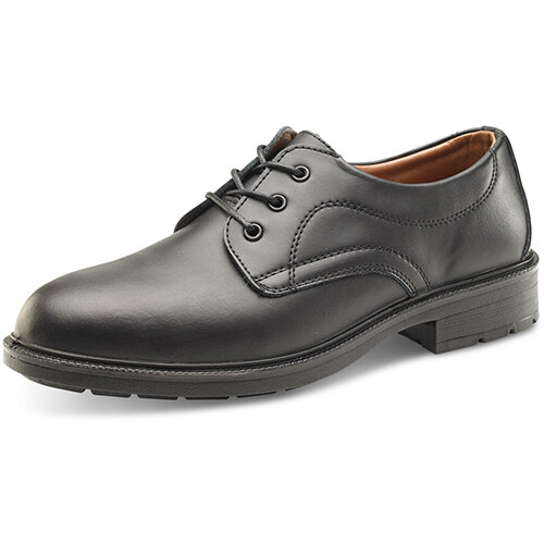 Click Footwear Managers Shoes S1 Leather Upper &Steel Toecap Size 6.5 (40) Black Ref SW201006.5