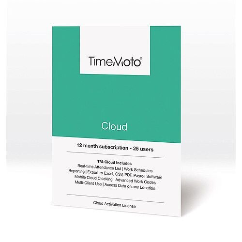 Safescan TimeMoto Cloud Time Attendance Software 25 Users