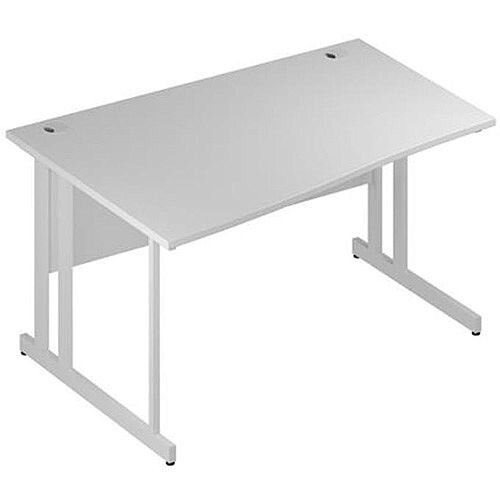 Wave Double Cantilever White Leg Left Hand Office Desk White W1400mm