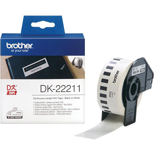 Brother DK Labels DK-22211-1 29mm x 15.24m Continuous Film Label Roll