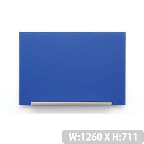 Nobo Diamond Glass Board Magnetic Scratch Resistant Fixings Included W1260xH711mm Blue Ref 1905189