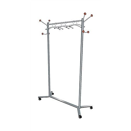 Coat Rack Mobile 4 Wheels Metal Frame Capacity 36 Hangers W1200xD500xH1700mm