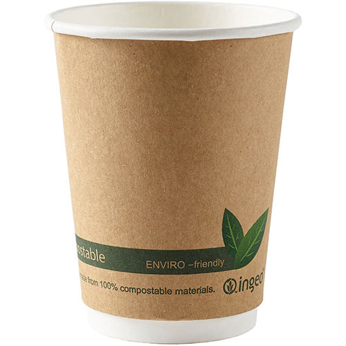 Dispo Kraft Disposable Paper Cups 12oz Double Wall Compostable Eco-Friendly PLA Bio-gradable Cups Ref 44882 Pack of 25