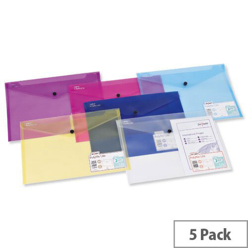 Snopake Polyfile Lite Wallet File A4 Durable Assorted Pack 5