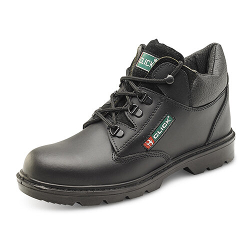 Click Footwear PU/Leather Mid-Cut Safety Boots with Midsole Protection Size 10 Black - Shock Absorber Heel, Anti-static, Oil resistant sole, Slip resistant Ref CF4BL10