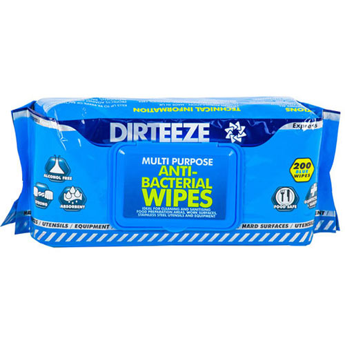 Dirteeze Anti-Bacterial Wipes Soft Dispenser Pack Blue Ref DZAB200 [200 Wipes]