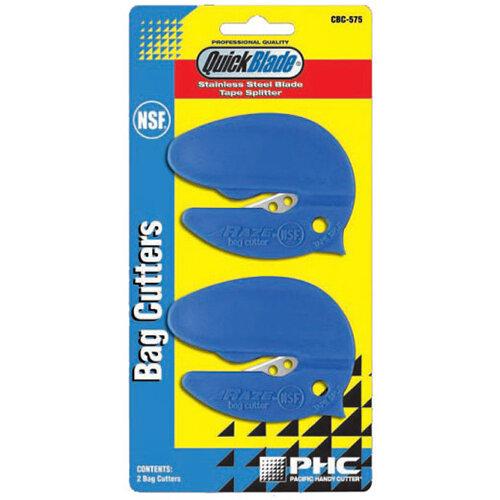 Pacific Handy Cutter NSF Safety Bag Cutter Tape Splitter Blue Ref CBC-575 [Pack 2]