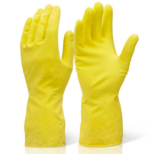 Click2000 Household Medium Weight Rubber Gloves Yellow Size XL Pack of 10 Pairs Ref HHMWXL