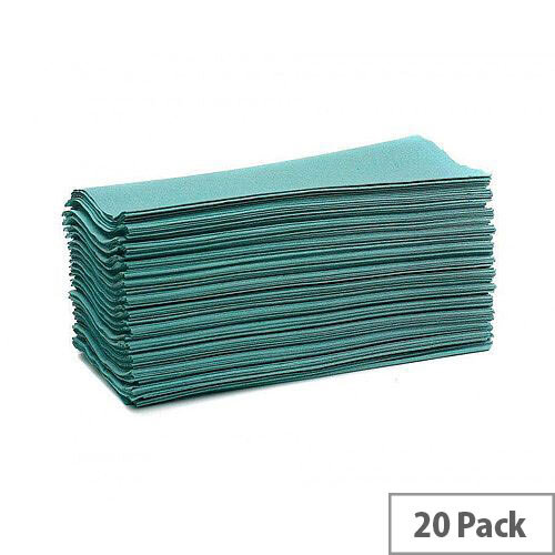 Maxima Green Hand Paper Towels C-Fold 1-Ply 144 Towels Per Sleeve 20 Sleeves Green (2880 Sheets)