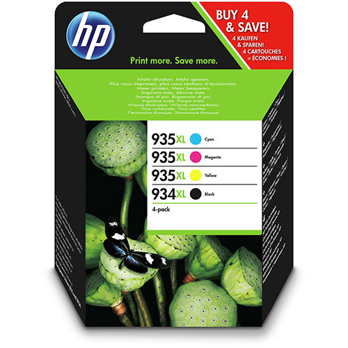 HP 934XL Yield 1,000 Pages Ink Cartridge Black + 935XL Yield 825 Pages Multipack Ink Cartridges Cyan/Magenta/Yellow Ref X4E14AE