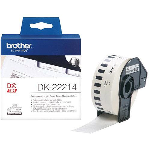 Brother DK Labels DK-22214-1 12mm x 30.48m Continuous Paper Tape