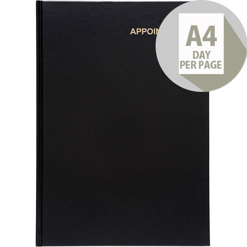 5 Star Office 2020 Appointment Diary Day to Page Casebound and Sewn Vinyl Coated Board A4 297x210mm Black