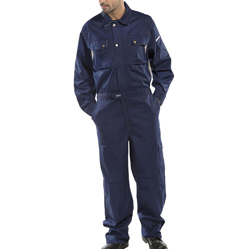 Click Premium 250gsm Polycotton Boilersuit Work Overall Size 46 Navy Blue Ref CPCN46