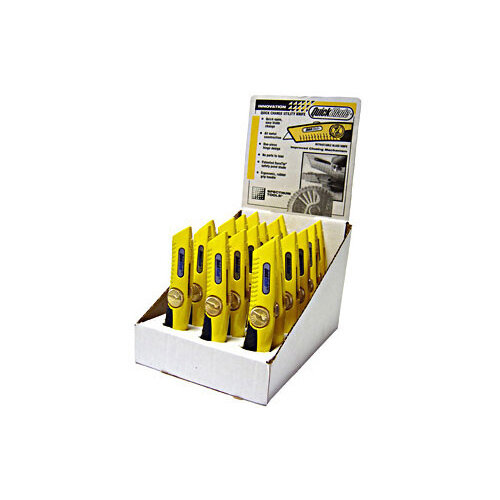 Pacific Handy Cutter Display Case Quickfeed Knives Yellow Ref DBQB-18 Pack of 18