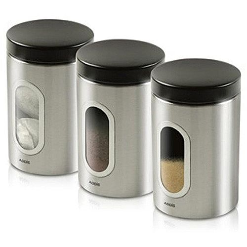 Addis Stainless Steel Kitchen Canisters Set Of 3